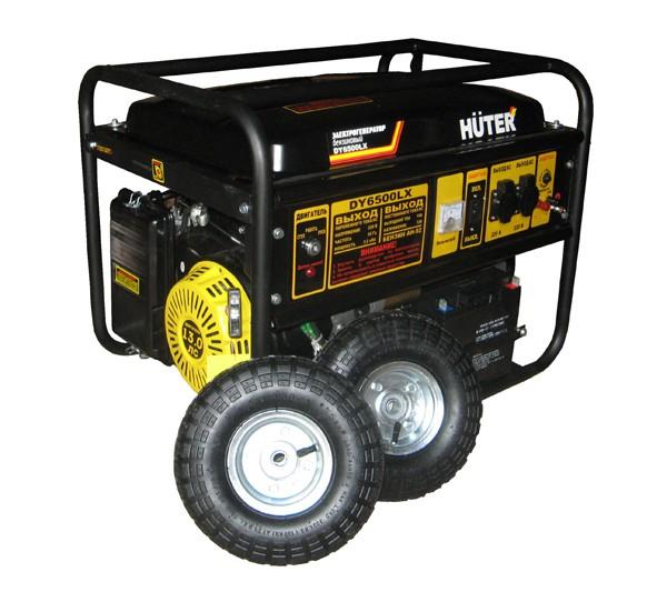 Портативный бензогенератор HUTER DY6500LX с колесами - фото товара