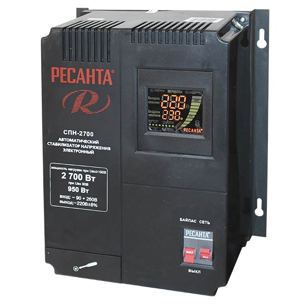 Однофазный цифровой стабилизатор пониженного напряжения РЕСАНТА СПН-2700 - фото товара